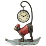 Monkey Clock on Palm Leaf