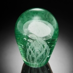 Art Glass Green Spiral Jellyfish