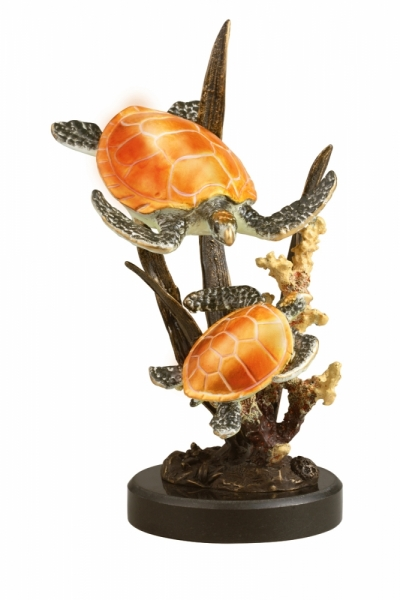 Imperial Double Sea Turtles Sculpture
