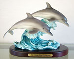 Twin Dolphin on Wave Sculpture