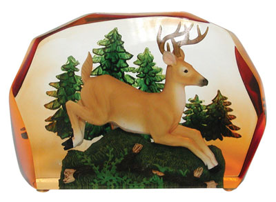 Leaping Deer Clear Resin Sculpture