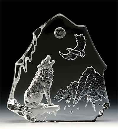 Wolf & Eagle Leaded Crystal Sculpture