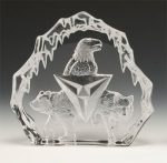 Eagle, Bear and Wolf Trinity Leaded Crystal Sculpture