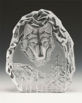 Wolf Head Leaded Crystal Sculpture