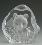 Mother & Baby Panda Bears Leaded Crystal Sculpture