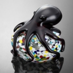Art Glass Black Octopus Sculpture/Paperweight