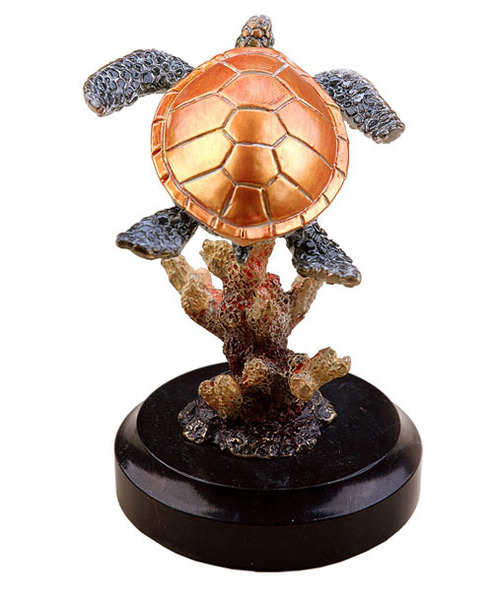 Small Sea Turtle and Coral Sculpture