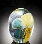 Art Glass Tricolor Jellyfish Sculpture