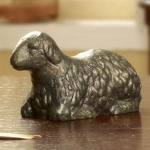Sleeping Lamb Statue with Gold Patina