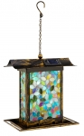 Mosaic Glass Blue Square Bird Feeder with Solar