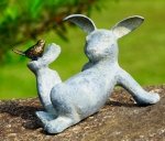 Playful Rabbit with Bird Garden Sculpture