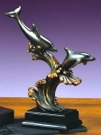 Bronze Coated Dolphin Lover Sculpture