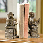 Bronze Style Reading Monkey Bookends