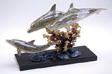 Trio Dolphins on Marble Base Sculpture