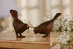 Small Chatty Bird Sculptures - Pair (Bronze)