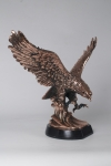 Landing Eagle Statue on High Base with Copper Finish