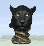 """Piercing Eyes"" Panther Head Sculpture"