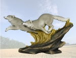 """Elysian Fields"" Wolves Running on Rocks Sculpture"