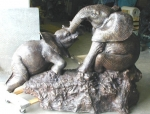 2 Playing Elephants Sculpture