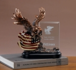 Glass Imprint Eagle Trophy with American Flag