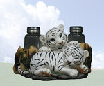 White Tiger Cubs Salt & Pepper Shaker Holder