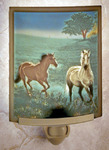 Morning Run Horses Colored Lithophane Night Light