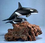 Large Orca Mother & Calf on Burlwood Base Statue (John Perry)