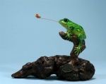 Fly Catching Frog Sculpture
