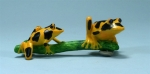 Yellow/Black Double Tree Frogs on Branch Magnet