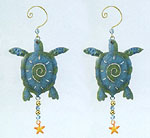 Metal Sea Turtle Adornments - Set of 2