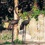 Bronze Pair Cranes Sculpture Water Fountains