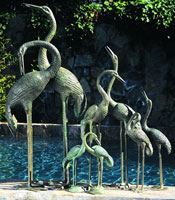 Large Verdi Pair Crane Fountains