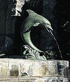 Single Verdigris Patina Dolphin Fountain (Medium)