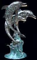 Art Finish Trio Bronze Dolphins Fountain