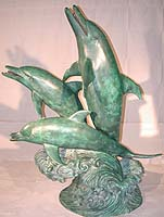 Large Trio Dolphin Fountain