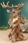 Faux Wood Elk Bust Sculpture