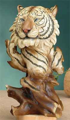 Faux Wood Tiger Bust Statue