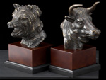 """Stock Market"" Bull & Bear Bronze on Wood Bookends"