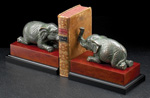 Patina Finished Metal Elephant on Burlwood Bookends