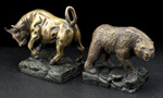 Stock Market Bull & Bear Bronze Bookend