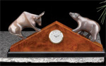 """Stock Market"" Bull & Bear Table Clock"