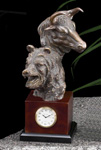 Bull & Bear Head Desk Clock