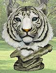"""Tigris"" White Tiger Head Statue"