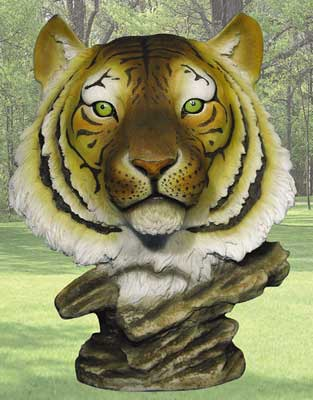"""Loki"" Yellow Tiger Head Statue"